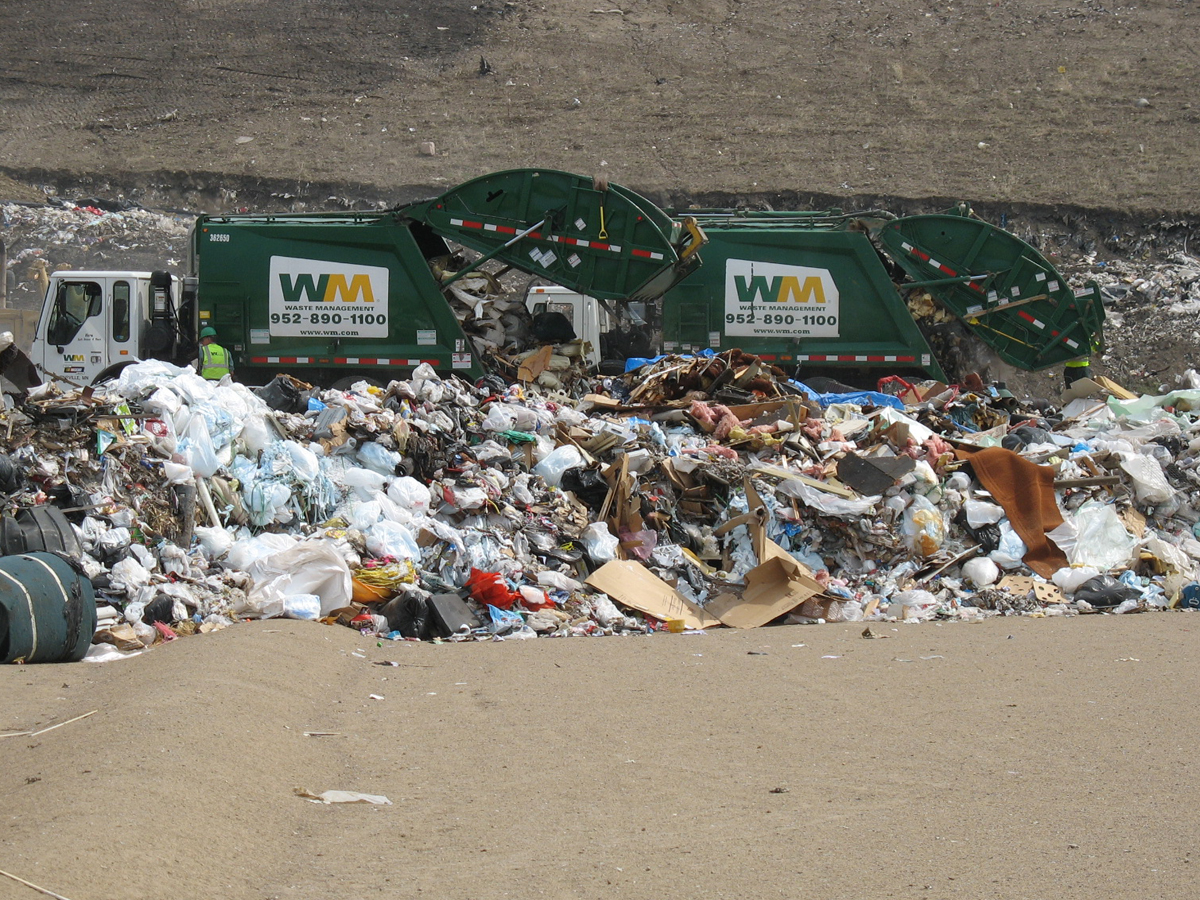 The picture is of garbage being unloaded at a Minnesota landfill.
