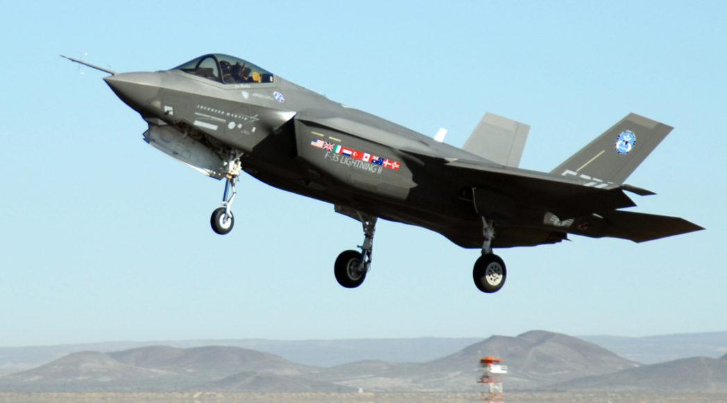 U.S. Air Force photo by Senior Airman Julius Delos Reyes. An F-35 Joint Strike Fighter comes in for a landing following an air-start test.