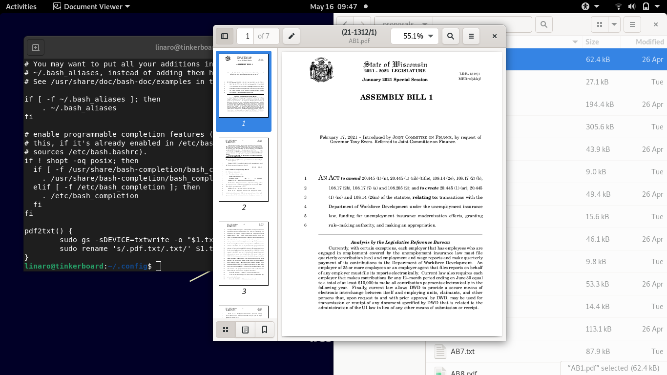 Screenshot of Linux desktop showing an open PDF copy of Wisconsin state proposed bill.