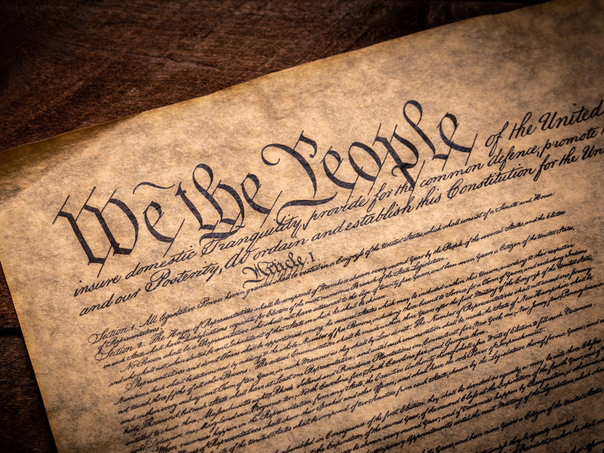 Photograph of a copy of the United States Constitution