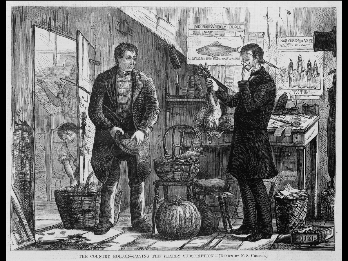 Public domain image from harper's Magazine of man paying for a subscription with chickens.